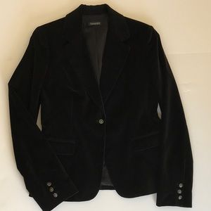 Tahari Black cotton velvet blazer